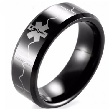 COI Black Tungsten Carbide Medic Alert Heartbeat Ring-TG1957B