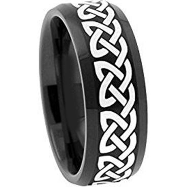 COI Black Tungsten Carbide Celtic Beveled Edges Ring-TG1959A