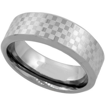 COI Tungsten Carbide Checkered Flag Beveled Edges Ring-TG1985