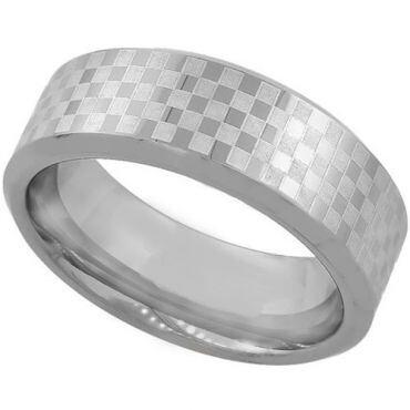 COI Tungsten Carbide Checkered Flag Beveled Edges Ring-TG1985