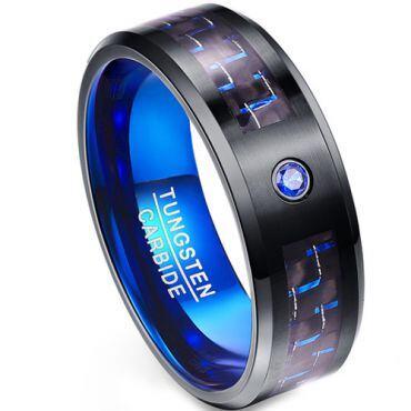 *COI Tungsten Carbide Black Blue Carbon Fiber Ring-TG1988AAA