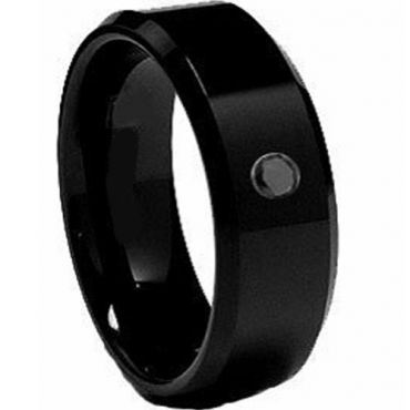 COI Black Tungsten Carbide Ring With Genuine Diamond - TG2062
