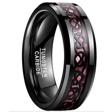COI Black Tungsten Carbide Carbon Fiber Heart Ring-TG2075BB