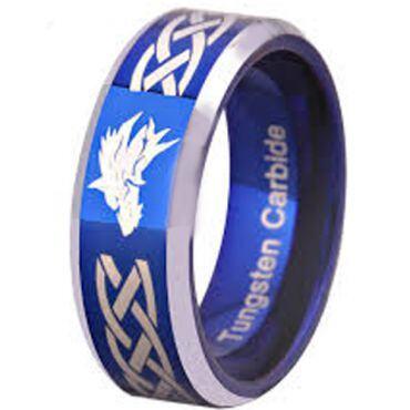 *COI Tungsten Carbide Wolf Celtic Beveled Edges Ring-TG2089CC