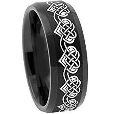 COI Black Tungsten Carbide Heart Beveled Edges Ring - TG2108