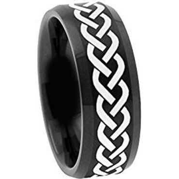*COI Black Tungsten Carbide Celtic Beveled Edges Ring-TG2116