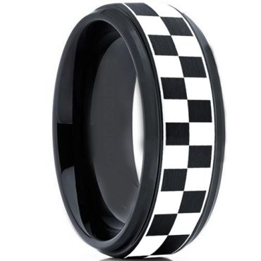 COI Tungsten Carbide Black Silver Checkered Flag Ring-TG2136B