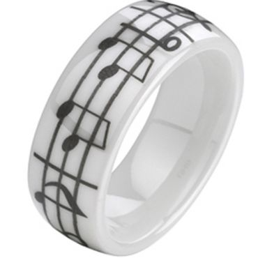 COI White Ceramic Music Note Dome Court Ring-TG2139A