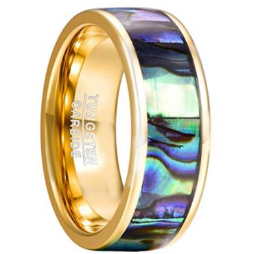 COI Gold Tone Tungsten Carbide Abalone Shell Ring-TG2191CC