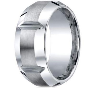 *COI Tungsten Carbide Horizontal Grooves Beveled Edge Ring-TG2198