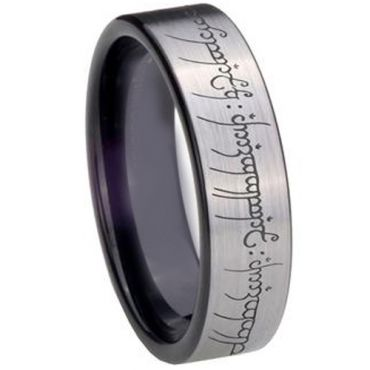 COI Tungsten Carbide Lord Of The Ring Pipe Cut Ring-TG2213