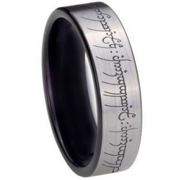*COI Tungsten Carbide Lord Of The Ring Pipe Cut Ring-TG2213