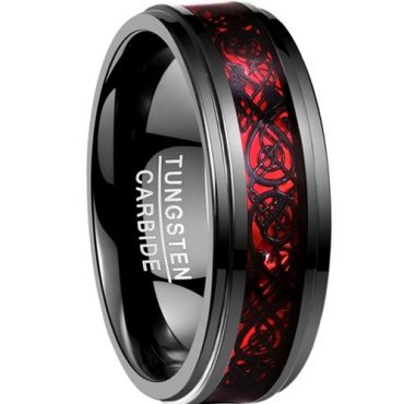 COI Black Red Tungsten Carbide Dragon Step Edges Ring-TG2214