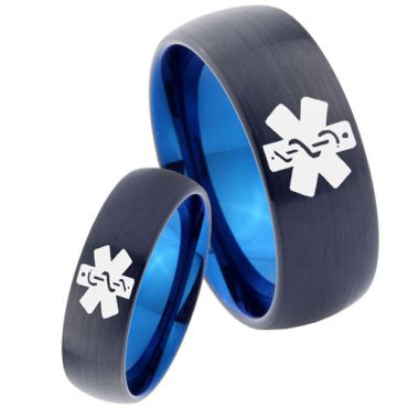 COI Tungsten Carbide Black Blue Medic Alert Ring - TG2272