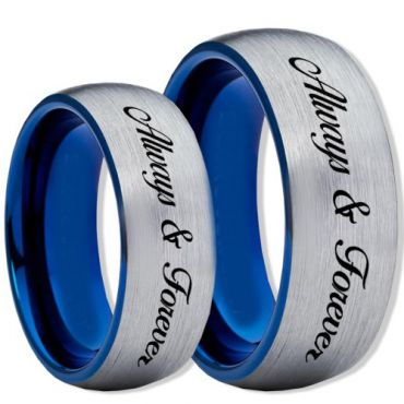 COI Tungsten Carbide Blue Silver Always & Forever Ring-TG2345