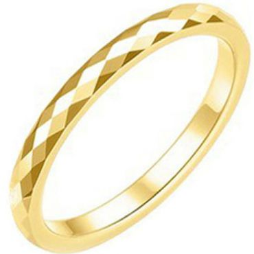 COI Gold Tone Tungsten Carbide 3mm Faceted Ring-TG2361