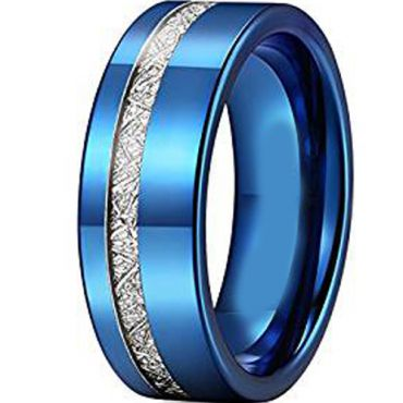 COI Blue Tungsten Carbide Offset Meteorite Ring-TG2426AA
