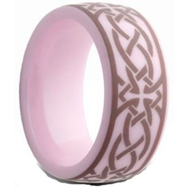 COI Pink Ceramic Cross Celtic Dome Court Ring-TG2559AA