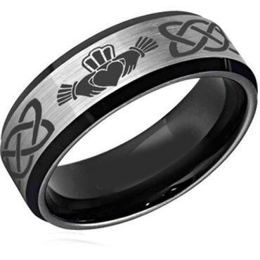 *COI Tungsten Carbide Mo Anam Cara Celtic Ring - TG2589CC