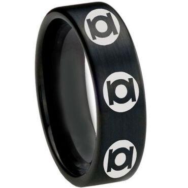 COI Black Tungsten Carbide Green Lantern Pipe Cut Ring-TG2609CC