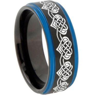 COI Tungsten Carbide Black Blue Heart Step Edges Ring-2769