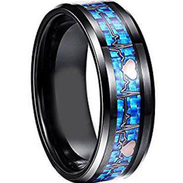 COI Black Tungsten Carbide Heartbeat & Heart Carbon Fiber Ring-TG2795AA