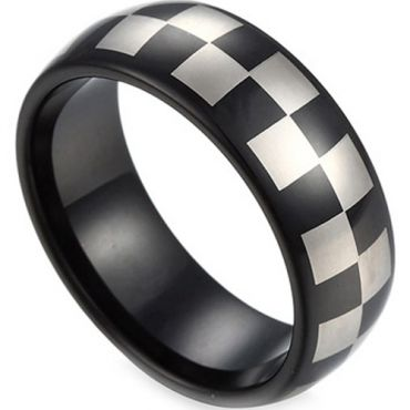 COI Black Tungsten Carbide Checkered Flag Dome Court Ring-TG2818