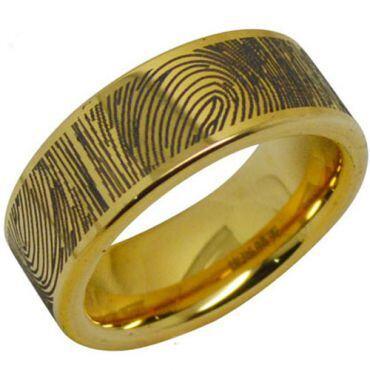 COI Gold Tone Tungsten Carbide Custom FingerPrint Flat Ring-TG287