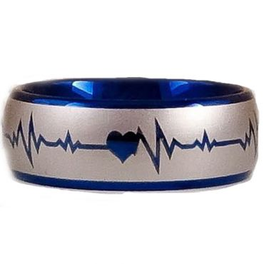 **COI Tungsten Carbide Heartbeat & Heart Dome Court Ring-TG2887C