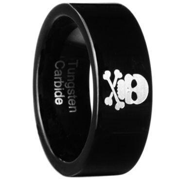 COI Black Tungsten Carbide Skull Pipe Cut Flat Ring - TG2888B
