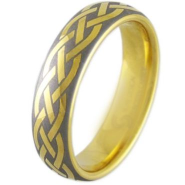 COI Gold Tone Tungsten Carbide Celtic Dome Court Ring-TG2908