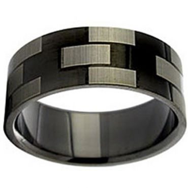 COI Black Tungsten Carbide Checkered Flag Pipe Cut Ring-TG2924