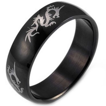 COI Black Tungsten Carbide Dragon Dome Court Ring-TG2932