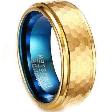 COI Tungsten Carbide Blue Gold Tone Hammered Ring-TG2936AA