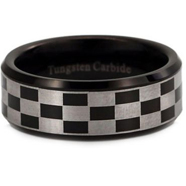 COI Black Tungsten Carbide Checkered Flag Beveled Edge Ring-2952