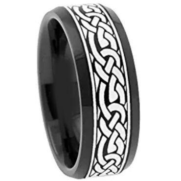 COI Black Tungsten Carbide Celtic Beveled Edges Ring - TG3062