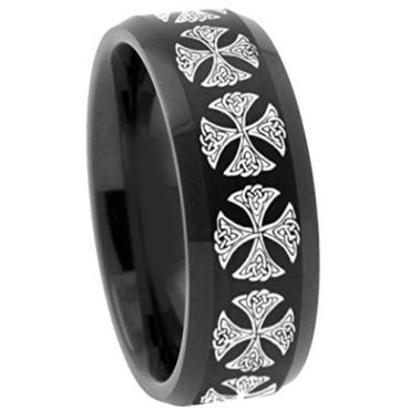 COI Black Tungsten Carbide Cross Beveled Edges Ring - TG3137A