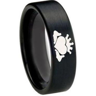 COI Black Tungsten Carbide Mo Anam Cara Flat Ring-TG3217CC