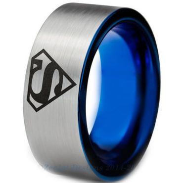*COI Tungsten Carbide Superman Pipe Cut Flat Ring-TG3226A