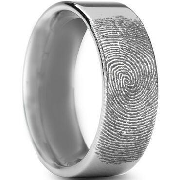 COI Tungsten Carbide Custom Fingerprint Pipe Cut Flat Ring-TG3234