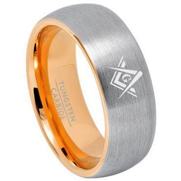 COI Gold Tone Tungsten Carbide Masonic Dome Court Ring-TG3240