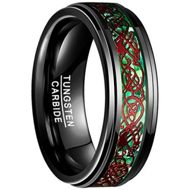 COI Black Red Tungsten Carbide Dragon Step Edges Ring-TG3241