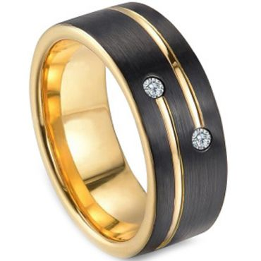 *COI Tungsten Carbide Black Gold Tone Ring With Zirconia-TG3249