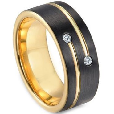 *COI Tungsten Carbide Black Gold Tone Ring With Cubic Zirconia-TG3249