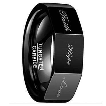 COI Black Tungsten Carbide Faith Hope Love Ring - TG3319BB