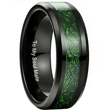 COI Black Green Tungsten Carbide Dragon Beveled Edges Ring-TG3353