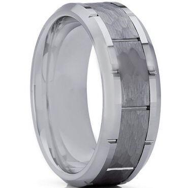 *COI Tungsten Carbide Hammered Brick Pattern Ring-TG3361