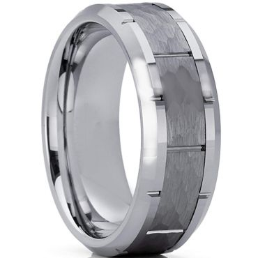 COI Tungsten Carbide Hammered Brick Pattern Ring-TG3361