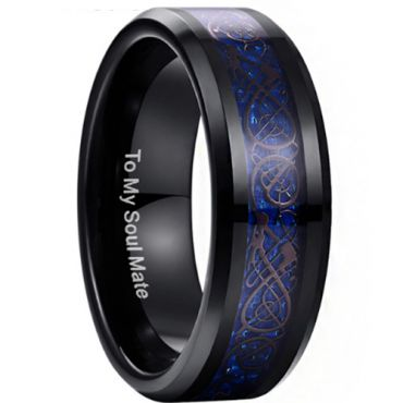 COI Black Blue Tungsten Carbide Dragon Beveled Edges Ring-TG3371