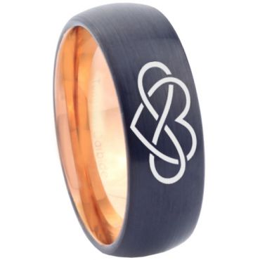 *COI Tungsten Carbide Black Rose Infinity Heart Ring - TG3374C
